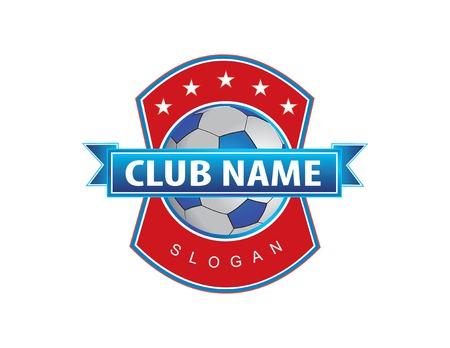 red and blue shield soccer logo Vector illustration. Illustration