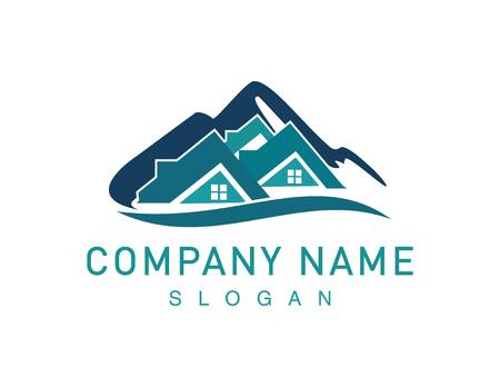 Mountains real estate symbol illustration.
