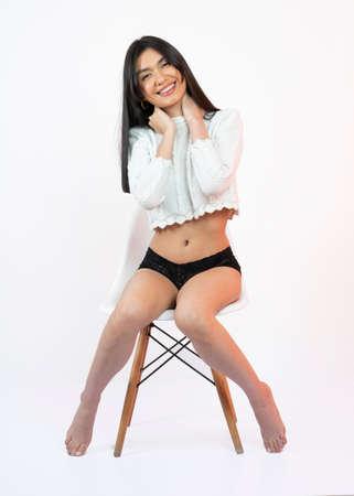 woman in underwear on white bakcground