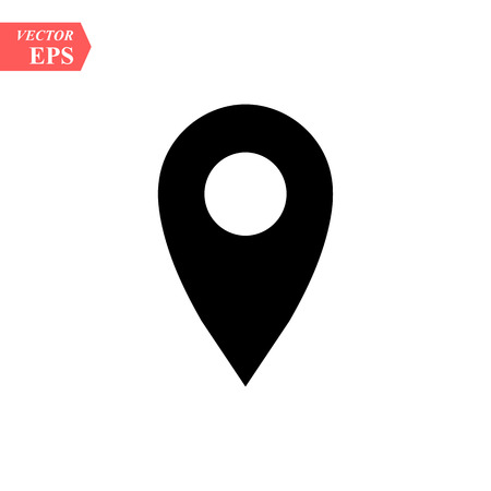 map pins sign location icon with ellipse black in flat simple style. Black round shapes on white background. Vector illustration web design element save in