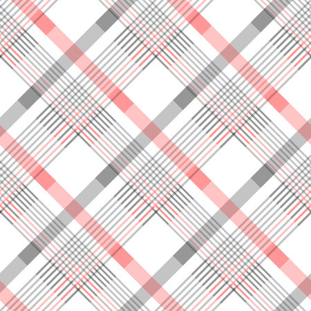 Seamless tartan plaid pattern in stripes of red, black and white. Checkered twill fabric texture. Vector swatch for digital textile printing. Standard-Bild - 105390978
