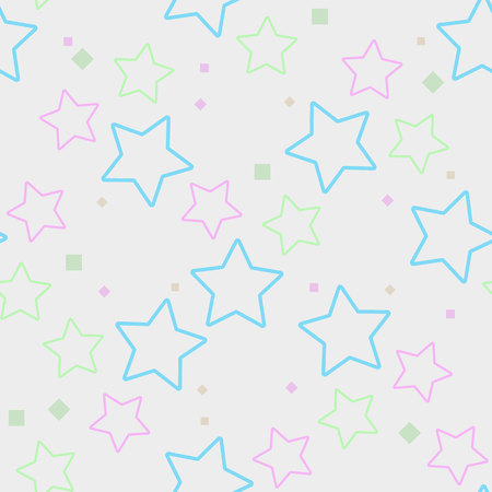 Seamless pattern, colorful stars background, pastel colors on white ps 10