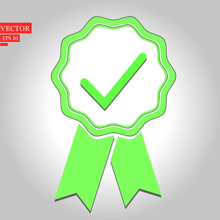 Green approval certificate vector illustration isolated on white background