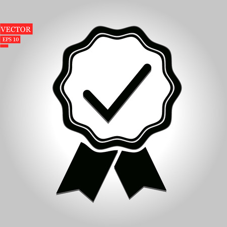 Approved or certified medal icon in a flat design. Award symbol isolated on white background Simple rosette icon in black Vector illustration for graphic design, Web, UI, mobile upp eps10 Ilustração
