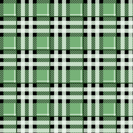 green tartan fabric texture in a square pattern seamless vector illustration