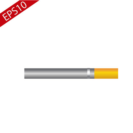 Lit, burning cigarette with yellow filter, side view, sketch vector illustration isolated on white background. Whole, new cigarette, ready to smoke, tobacco product eps10 Иллюстрация
