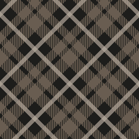 Seamless tartan plaid pattern in taupe, beige, grey and white. Classic fabric texture for digital textile printing. eps10 Stock Vector - 107717356