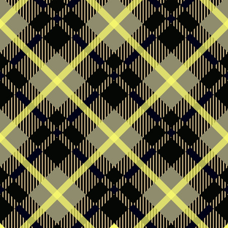 Seamless black and yellow diagonal detailed plaid tartan gingham textile pattern vector eps10