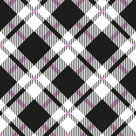 Black and white tartan diagonal seamless vector pattern Checkered plaid texture Geometrical simple square background for fabric, textile, cloth, clothing, shirts, shorts, dress blanket wrapping design eps10 Illustration