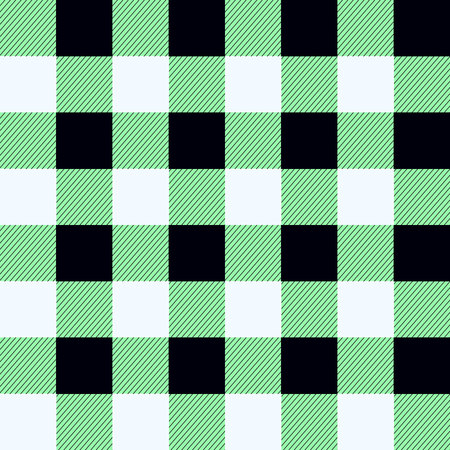 Buffalo Plaid Seamless Pattern Design. green, black and white tartan