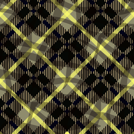 Seamless black and yellow diagonal detailed plaid tartan gingham textile pattern