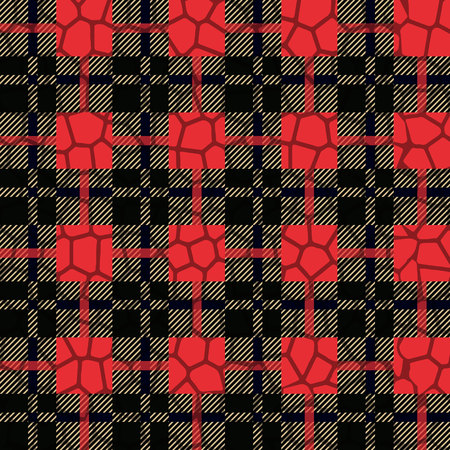 Scottish tartan grunge seamless pattern with leopard spots