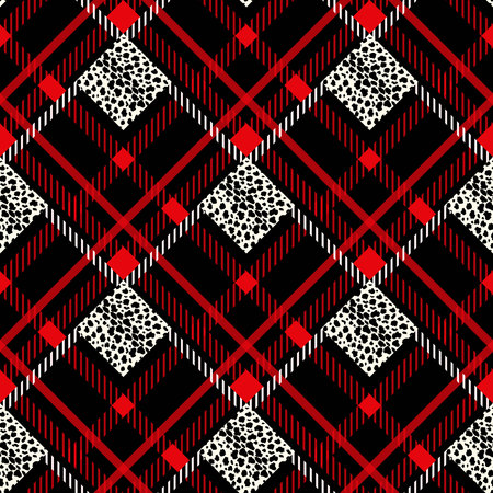 Scottish red tartan grunge seamless pattern with leopard spots eps10 Illustration