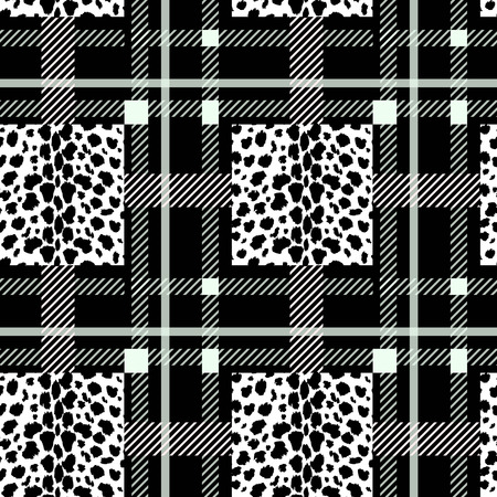 Tartan with Black white leopard texture seamless pattern. Vector illustration. eps10