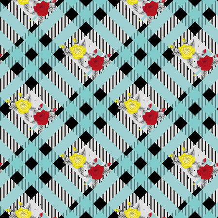 beautiful red and tellow flowers pattern on black and blue tartan plaid background eps 10