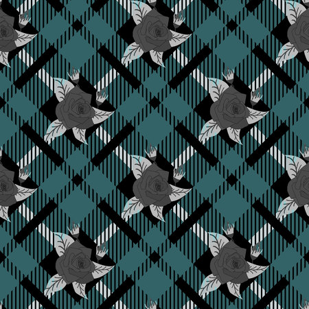 Beautiful flowers pattern on Template of checkered seamless background, plaid fabric, vector background eps10 Illustration