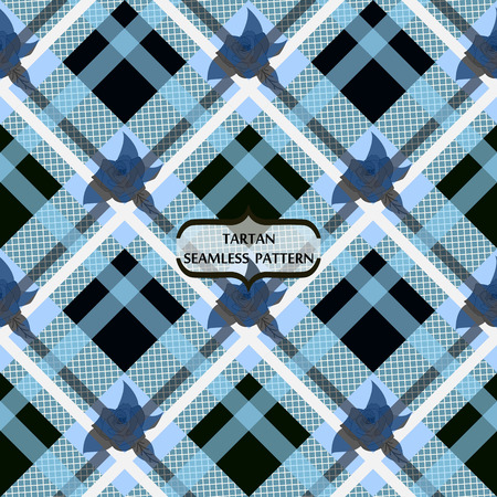 Embroidery pattern flowers and tartan pattern print on blue. eps10