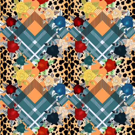 Scottish tartan grunge seamless pattern with leopard skin spots and colorful flowers . eps 10