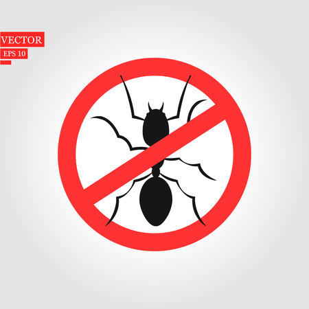 ant warning sign on white - vector illustration. eps 10