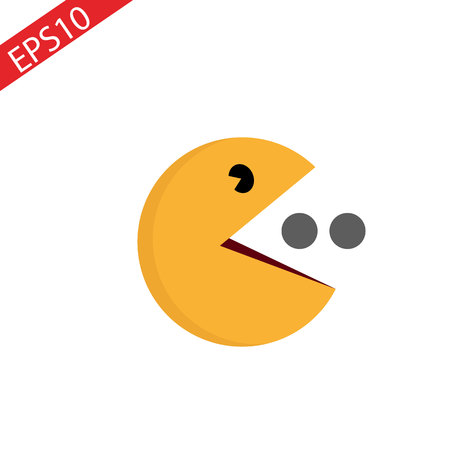 Segno di simbolo dell'icona della sfera gialla di vettore su bianco. Personaggio del gioco. eps10