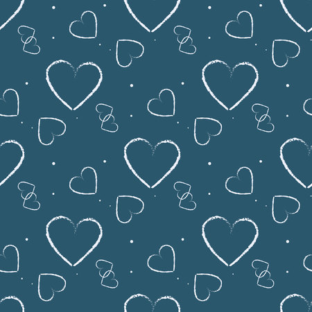 seamless hearts polka dot pattern with retro texture eps10  イラスト・ベクター素材