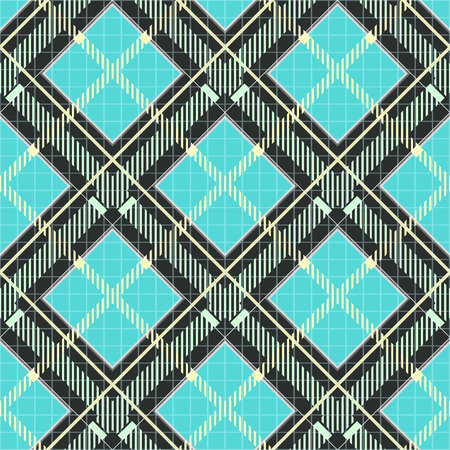 Tartan plaid print. Checkered fabric texture in robin egg blue, black and gray. Seamless pattern. eps10