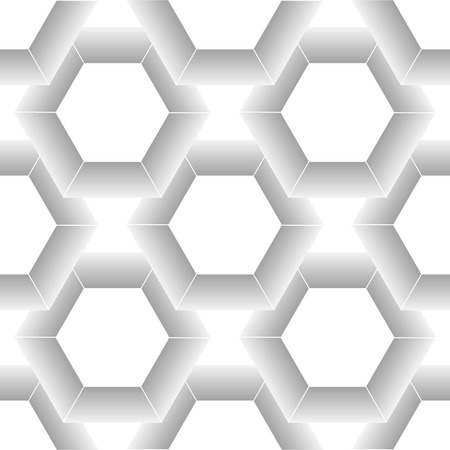 White seamless geometric texture. Origami paper style. Hexagonal elements. 3D rendering background. eps10 Illustration