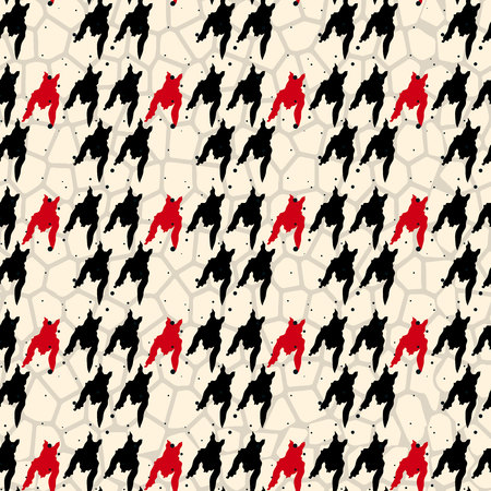 Seamless houndstooth pattern in red and black. Vector image. eps10 Illustration
