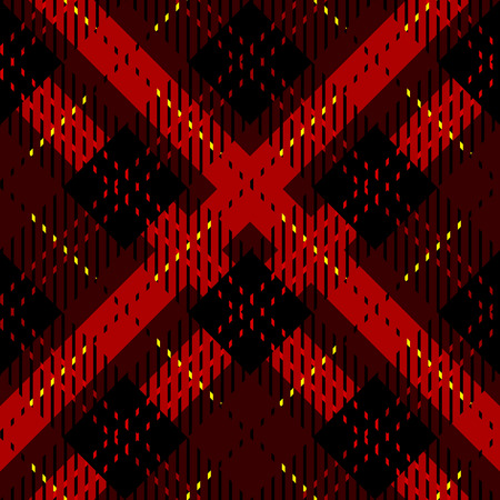Menzies tartan black red kilt diagonal fabric texture background seamless pattern.Vector illustration. EPS10. No transparency. No gradients.
