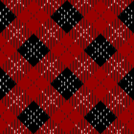 Plaid check pattern in red, black and white. Seamless fabric texture. eps10