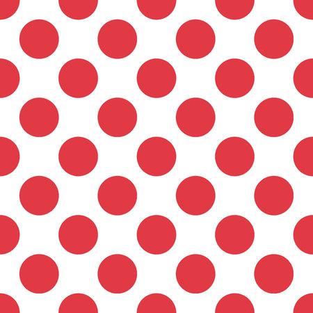 Red polka dot seamless pattern on white background. vector eps10