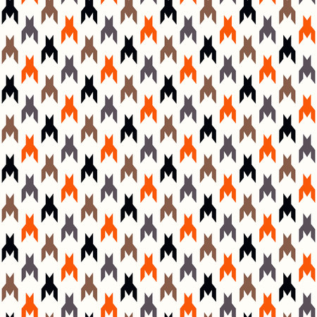 Houndstooth checkered seamless pattern in red yellow black and white, vector eps 10