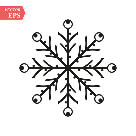 Snowflake icon. Black silhouette snow flake sign, isolated on white background. Flat design. Symbol of winter, frozen, Christmas, New Year holiday. Graphic element decoration. Vector illustration eps10