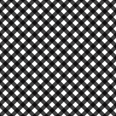 Black diagonal Gingham pattern. Texture from rhombus squares for - plaid, tablecloths, clothes, shirts, dresses, paper, bedding, blankets, quilts and other textile products. eps10 Standard-Bild - 127268359