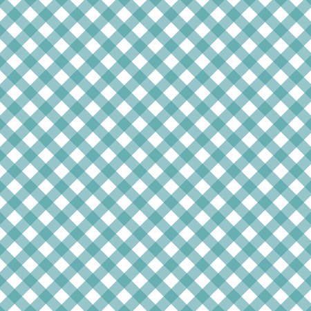 Cyan blue diagonal Gingham pattern. Texture from rhombus squares for - plaid, tablecloths, clothes, shirts, dresses, paper, bedding, blankets, quilts and other textile products. eps10