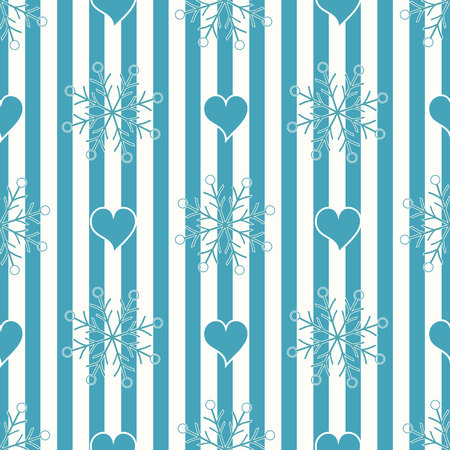 Abstract Seamless geometric Horizontal striped pattern with blue and white stripes heart and snowflake. Vector illustration. eps10 Standard-Bild - 127256586