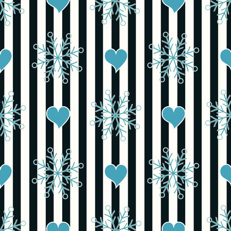 Abstract Seamless geometric Horizontal striped pattern with blue and white stripes heart and snowflake. Vector illustration. eps10 Illustration