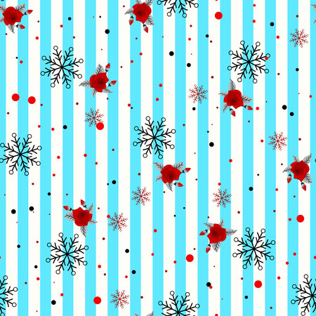 Abstract Seamless geometric Horizontal striped pattern with blue and white stripes flower and snowflake. Vector illustration. eps 10