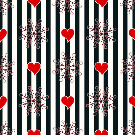 Abstract Seamless geometric Horizontal striped pattern with blue and white stripes heart and snowflake. Vector illustration. eps10 Standard-Bild - 127256589