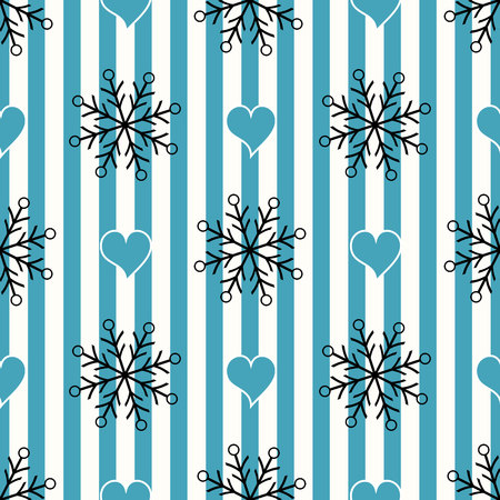 Abstract Seamless geometric Horizontal striped pattern with blue and white stripes heart and snowflake. Vector illustration. eps10 Standard-Bild - 127256590