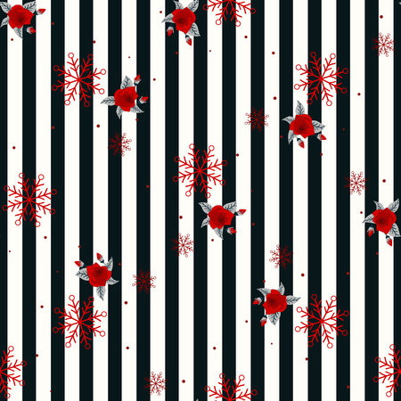 Abstract Seamless geometric Horizontal striped pattern with black and white stripes flower and snowflake. Vector illustration. eps 10