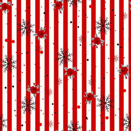 Abstract Seamless geometric Horizontal striped pattern with red and white stripes flower and snowflake. Vector illustration. eps 10