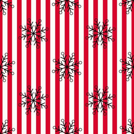 Christmas black snowflake seamless pattern. Black snow on red white lines background. Winter snow texture design wallpaper Symbol holiday, New Year celebration Vector illustration eps10 Standard-Bild - 127256594
