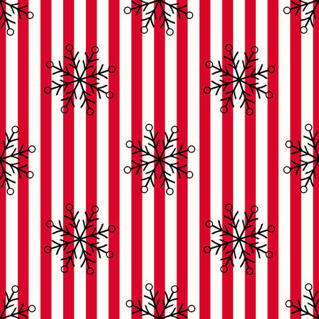 Christmas black snowflake seamless pattern. Black snow on red white lines background. Winter snow texture design wallpaper Symbol holiday, New Year celebration Vector illustration eps10