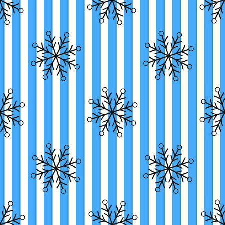 Christmas black snowflake seamless pattern. Black snow on blue white lines background. Winter snow texture design wallpaper Symbol holiday, New Year celebration Vector illustration eps10