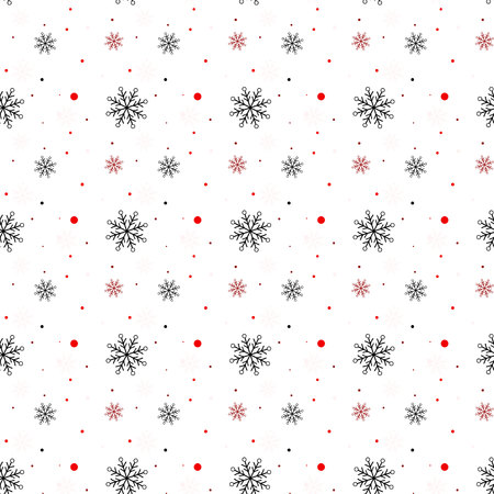 Red and black Snowflake seamless pattern. Snow on white background. Abstract wallpaper, wrapping decoration. Symbol winter, Merry Christmas holiday, Happy New Year celebration Vector illustration eps 10 Standard-Bild - 127232444
