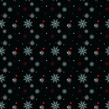 Seamless navy black background with snowflakes. Pattern snowfall with sparkling flares. eps10