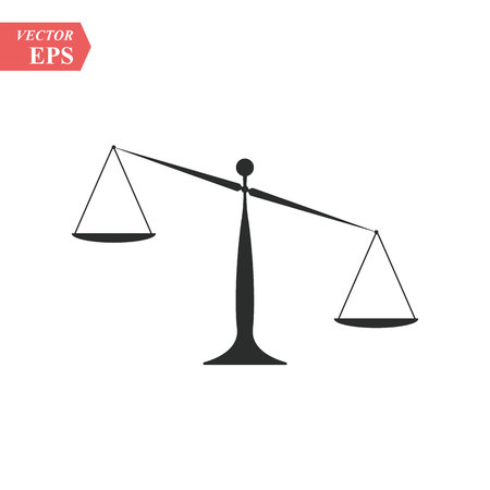 Modern vector icon of law scales balance, financial legislation and juridical system. Premium quality vector illustration concept. Flat line icon symbol. Flat design image isolated on white background eps10