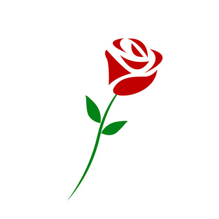 Vector branch of red roses isolated on a white background. eps 10 Çizim