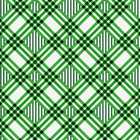 green tartan fabric texture diagonal pattern seamless vector illustration